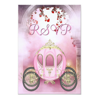 Pink Princess Carriage Enchanted RSVP 9 Cm X 13 Cm Invitation Card