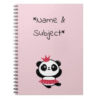 Pink Princess Panda Notebook