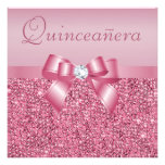 Pink Printed Sequins & Bow Quinceanera Announcement