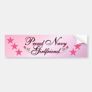 Pink & Proud Navy Girlfriend Bumper Sticker