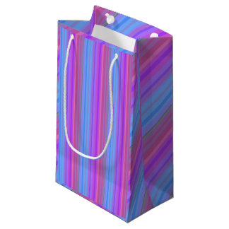 Pink Purple and Blue Striped Gift Bag