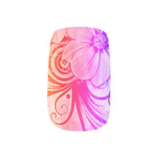 Pink, Purple and Orange Floral Minx Nail Art