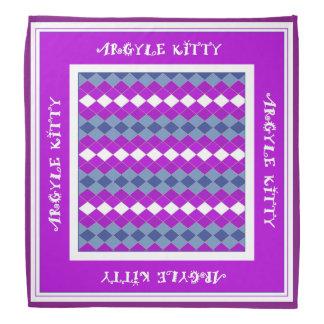 Pink Purple Argyle Kitty Pet Bandana