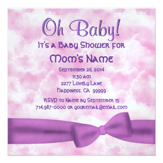 Pink Purple Clouds Bow Leopard Baby Girl Shower M8 Invites