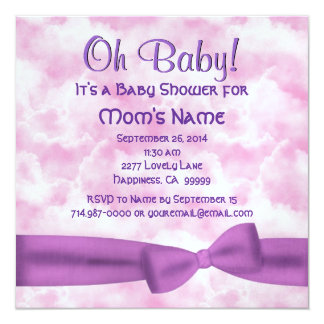 "Pink Purple Clouds Bow Leopard Baby Girl Shower M8 5.25"" Square Invitation Card"