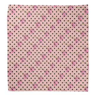 Pink purple flowers and black polka dots kerchiefs