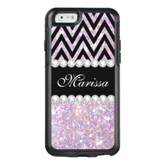 Pink Purple Glitter Black Chevron iPhone 6 Case