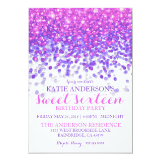 """Pink Purple Hollywood Glitter Sweet Sixteen Party 5"""" X 7"""" Invitation Card"""