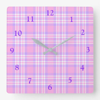 Pink Purple Lavender Plaid Gingham Check Girl Square Wall Clock