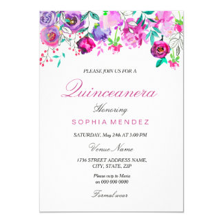 Pink Purple Mint Watercolor Flowers Quinceanera Card