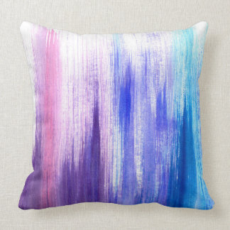 Pink Purple Paint Brush Strokes Painted Watercolor Throw Pillow