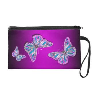 Pink purple silver butterfly elegant wristlet clutch