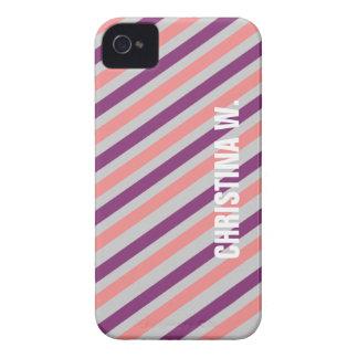 Pink purple stripe pattern custom name personal iPhone 4 Case-Mate case