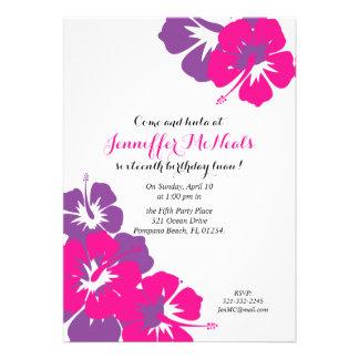 pink purple SWEET SIXTEEN luau invitation