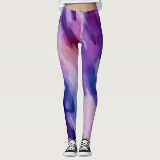 Pink & Purple Watercolor Paint Abstract Leggings
