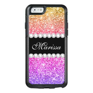 Pink Purple Yellow Gold Glitter Cute Black Ribbon OtterBox iPhone 6/6s Case
