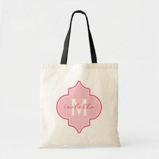 Pink Quatrefoil Monogram Tote Bag