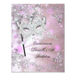 Pink Quinceanera 15th Birthday Tiara Masquerade Custom Invite