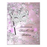 Pink Quinceanera 15th Birthday Tiara Masquerade 11 Cm X 14 Cm Invitation Card