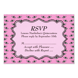 Pink Quinceanera Design with Butterflies Pattern Card