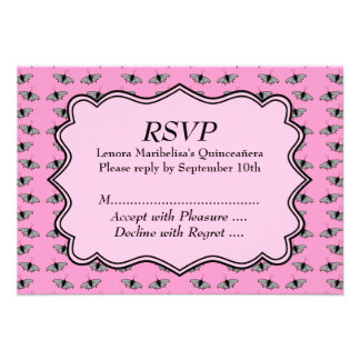 Pink Quinceanera Design with Butterflies Pattern Invites