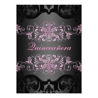 Pink Quinceañera Snow Flake Damask Birthday Invite