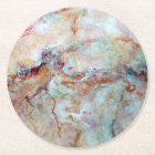 Pink rainbow marble stone finish round paper coaster