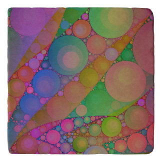 Pink Red Green Abstract Trivet
