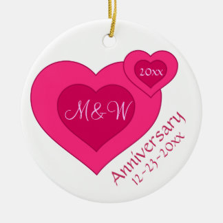 Pink Red Hearts Custom Anniversary Wedding Christmas Ornament