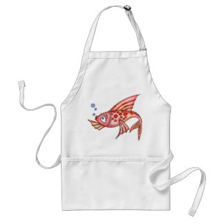 Pink Red Lips Fish Adult Apron