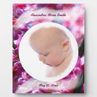 Pink Redbud Blossoms in Bloom Baby Girl Photo Plaques