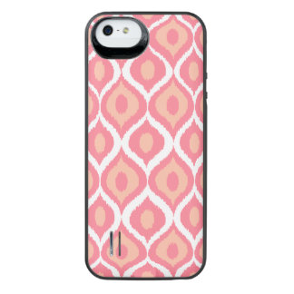 Pink Retro Geometric Ikat Tribal Print Pattern iPhone SE/5/5s Battery Case