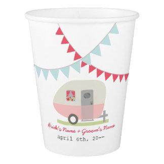 Pink Retro Trailer Wedding Cups