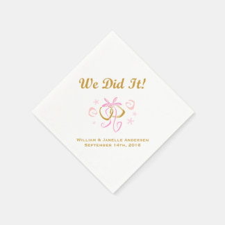 Pink Ribbon and Wedding Rings  Paper  Napkins Paper Napkins