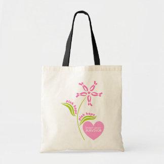 Pink Ribbon Breast Cancer Awareness Survivor Budget Tote Bag