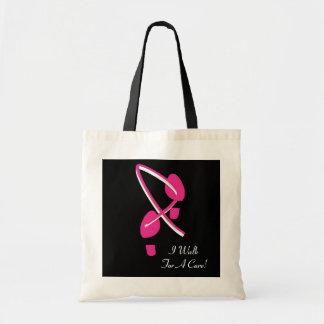 Pink Ribbon Footprints I Walk For A Cure Budget Tote Bag