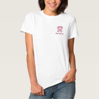 Pink Ribbon Heart Embroidered Shirt