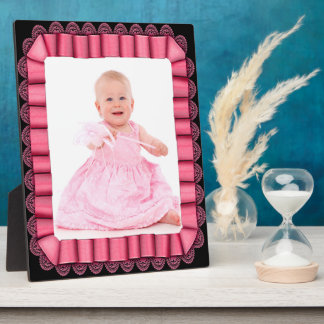 Pink Ribbon with Lace Frame Add Photo Plaque
