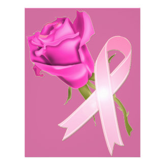 Pink Ribbon with Rose *Breast Cancer Awareness * 21.5 Cm X 28 Cm Flyer