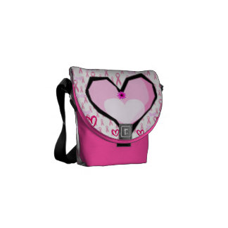 Pink ribbons&hearts,Breast cancer awareness_ Commuter Bags