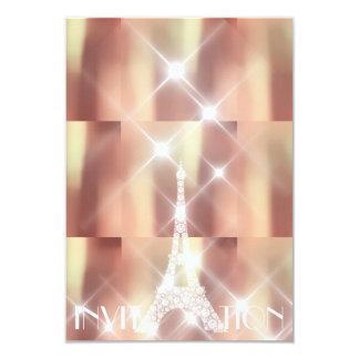Pink Rise Eiffel Tower Paris Sparkly Stars Copper Card