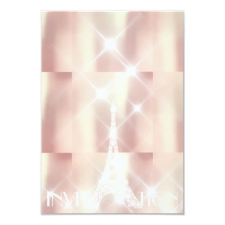 Pink Rise Eiffel Tower Paris Sparkly Stars Formal Card