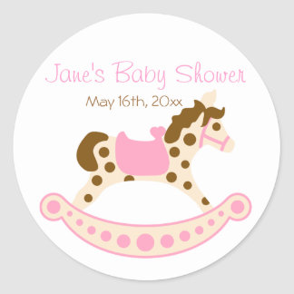 Pink Rocking Horse Baby Shower Round Sticker