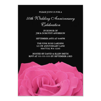 Pink Rose and Black 50th Wedding Anniversary Card