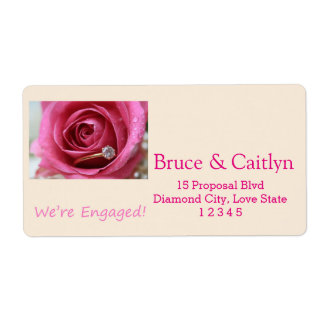 pink rose and rings engagement announcement shipping label