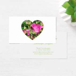 Pink Rose Blossoms Heart Shape Photo Business Card