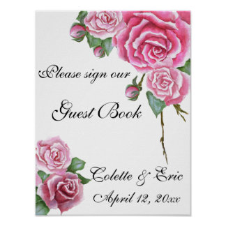 Pink Rose Bouquet Floral Guest Book Wedding Sign