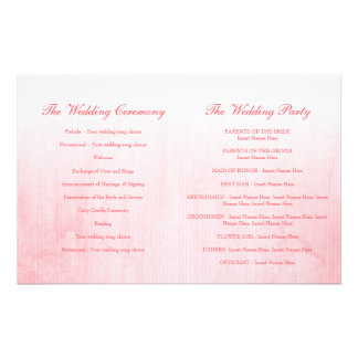 Pink rose bud wedding programme