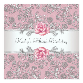 Pink Rose Damask Womans Birthday Party Card