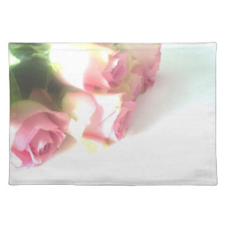 Pink rose flower cloth placemats for wedding party